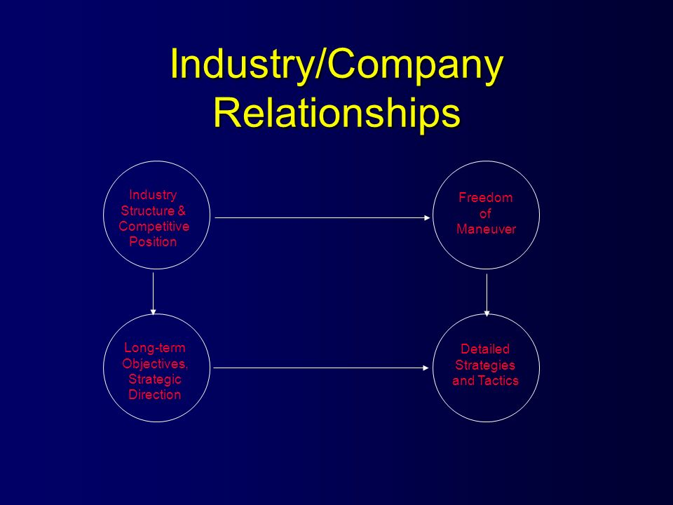 Industry/Company Relationships Industry Structure & Competitive Position Long-term Objectives, Strategic Direction Detailed Strategies and Tactics Fre