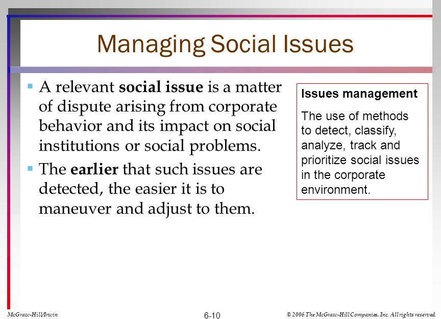 Managing Social Issues A relevant social issue is a matter of dispute arising from corporate behavior and its impact on social institutions or social problems.
