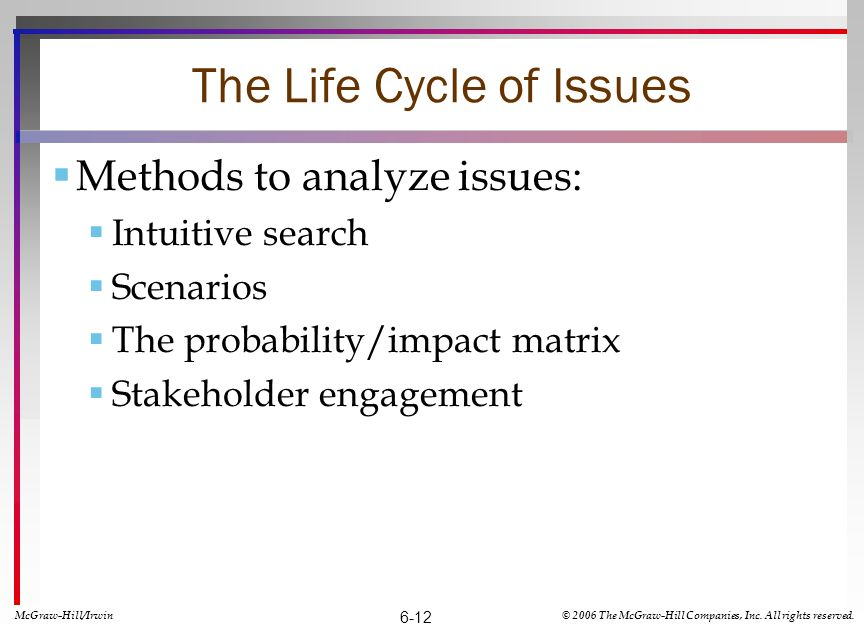 The Life Cycle of Issues Methods to analyze issues: Intuitive search Scenarios The probability/impact matrix Stakeholder engagement McGraw-Hill/Irwin© 2006 The McGraw-Hill Companies, Inc.