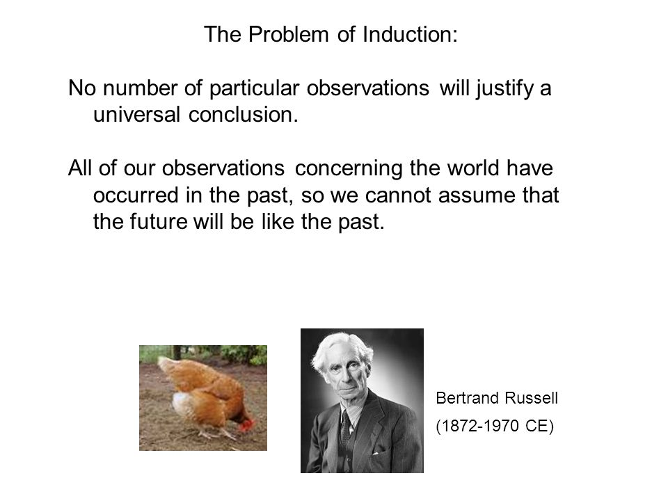 The Problem of Induction: No number of particular observations will justify a universal conclusion. All of our observations concerning the world have