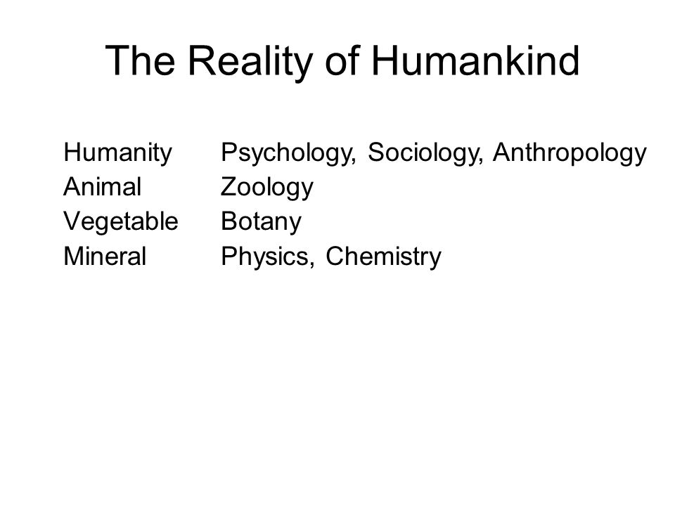 The Reality of Humankind Humanity Animal Vegetable Mineral Psychology, Sociology, Anthropology Zoology Botany Physics, Chemistry