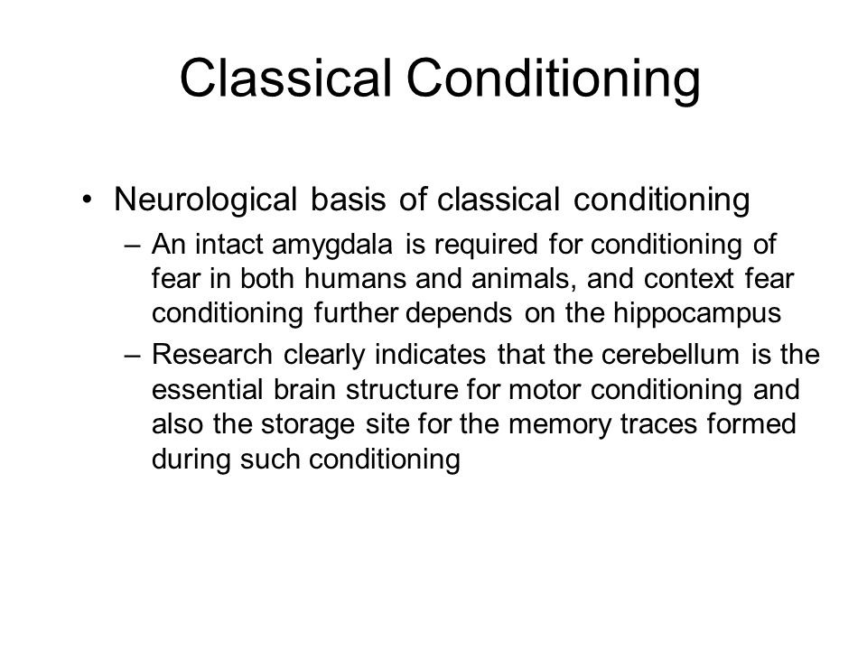 Classical Conditioning Neurological basis of classical conditioning –An intact amygdala is required for conditioning of fear in both humans and animal