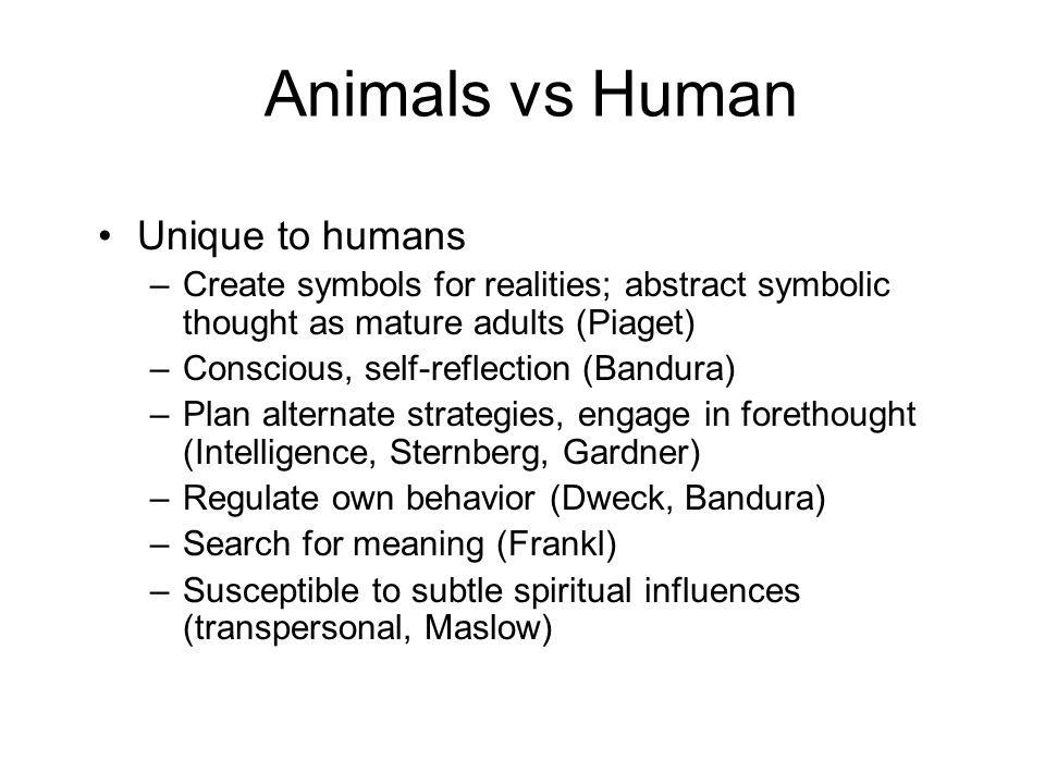 Animals vs Human Unique to humans –Create symbols for realities; abstract symbolic thought as mature adults (Piaget) –Conscious, self-reflection (Band