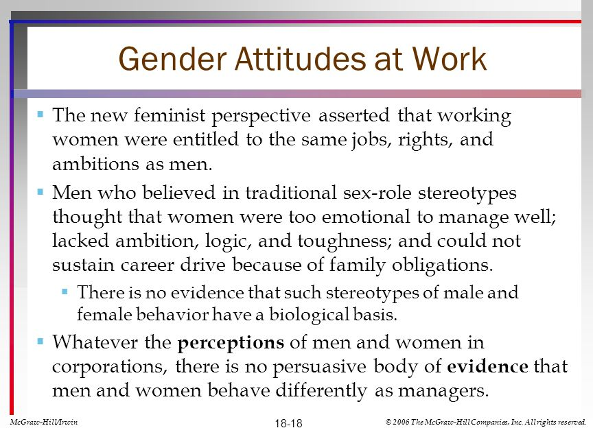 Gender Attitudes at Work The new feminist perspective asserted that working women were entitled to the same jobs, rights, and ambitions as men. Men wh