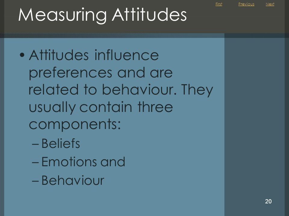 First 20 Measuring Attitudes Attitudes influence preferences and are related to behaviour. They usually contain three components: –Beliefs –Emotions a