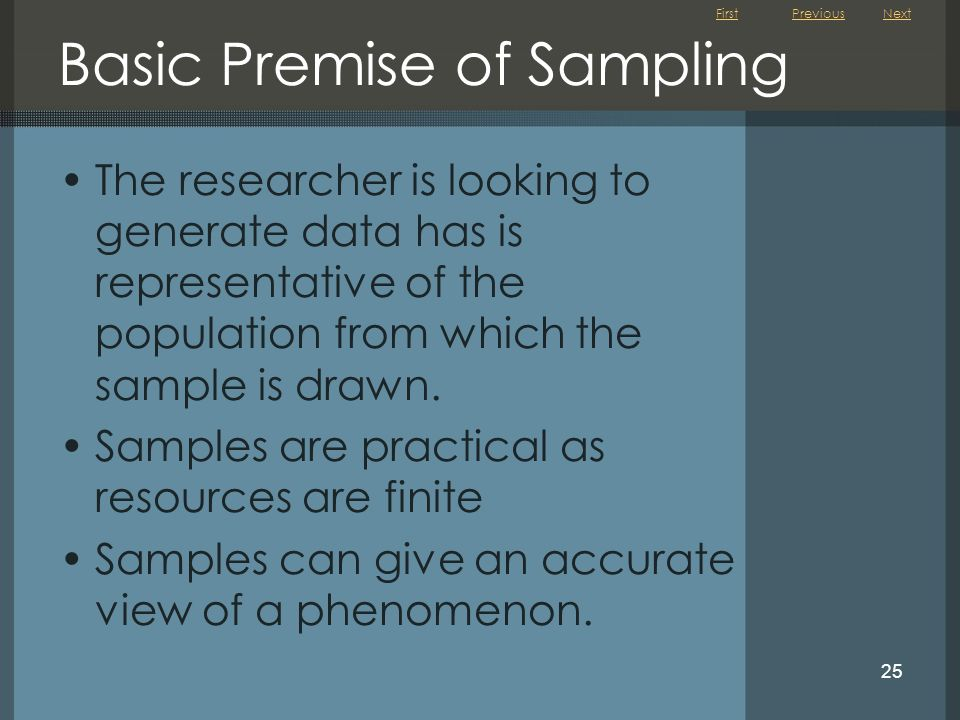 First 25 Basic Premise of Sampling The researcher is looking to generate data has is representative of the population from which the sample is drawn.