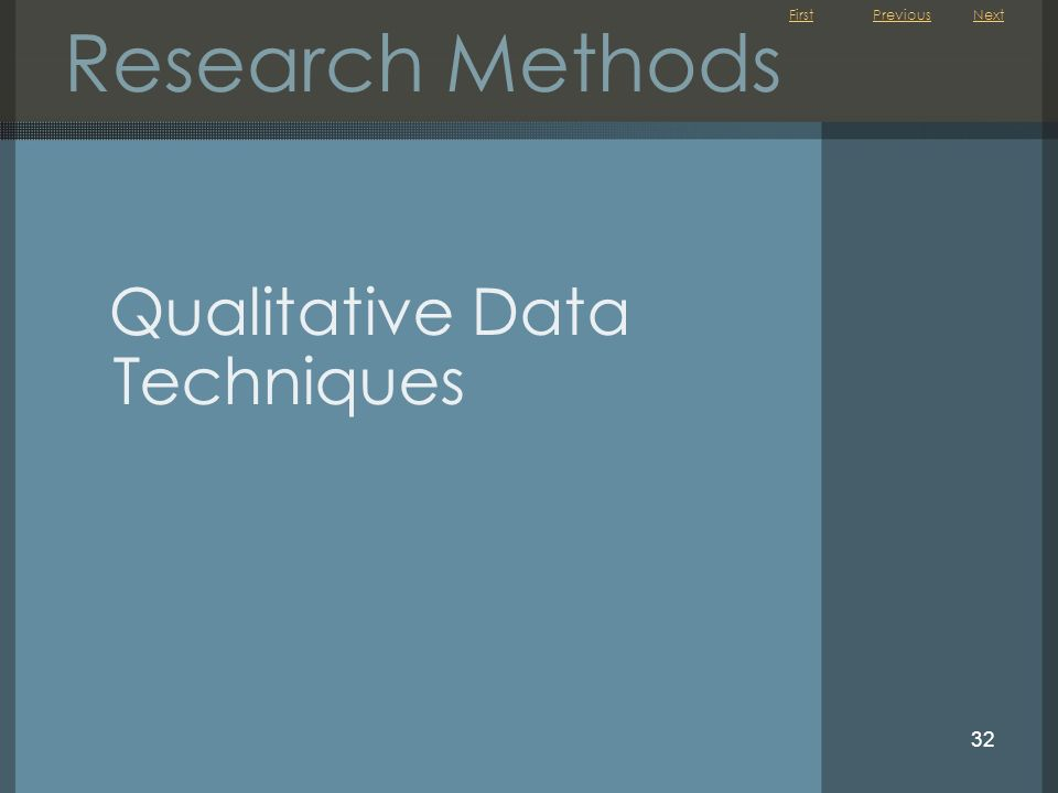 First 32 Research Methods Qualitative Data Techniques NextPrevious