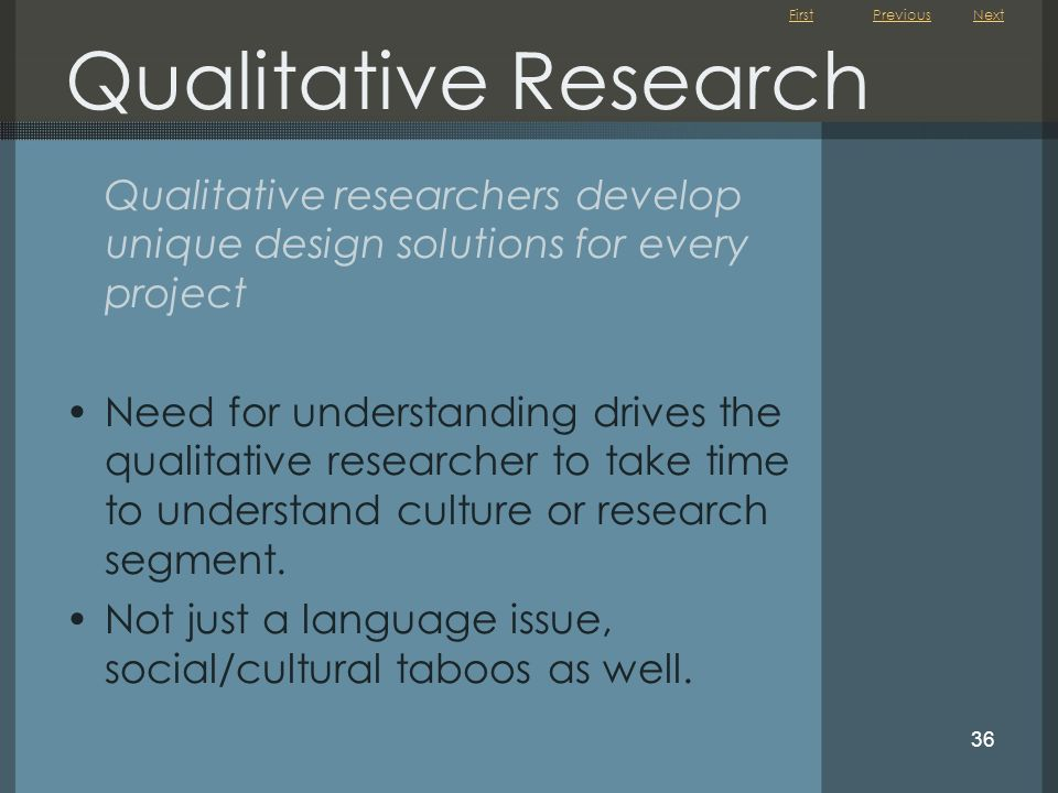 First 36 Qualitative Research Qualitative researchers develop unique design solutions for every project Need for understanding drives the qualitative