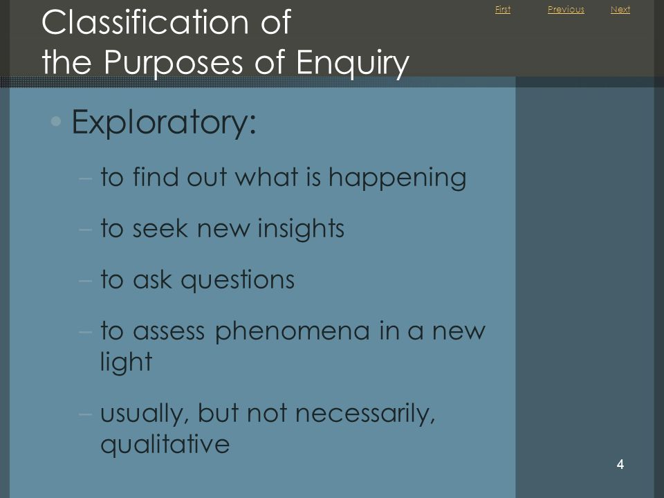 First 4 Classification of the Purposes of Enquiry Exploratory: –to find out what is happening –to seek new insights –to ask questions –to assess phenomena in a new light –usually, but not necessarily, qualitative PreviousNext