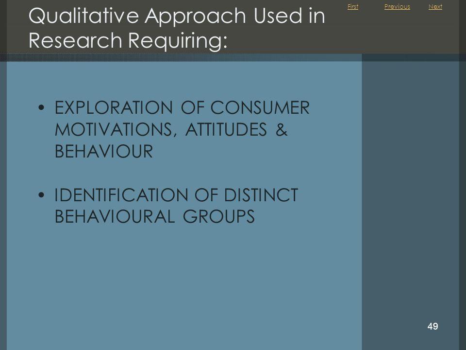 First 49 Qualitative Approach Used in Research Requiring: EXPLORATION OF CONSUMER MOTIVATIONS, ATTITUDES & BEHAVIOUR IDENTIFICATION OF DISTINCT BEHAVI