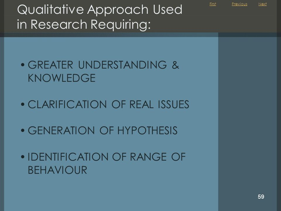 First 59 Qualitative Approach Used in Research Requiring: GREATER UNDERSTANDING & KNOWLEDGE CLARIFICATION OF REAL ISSUES GENERATION OF HYPOTHESIS IDEN