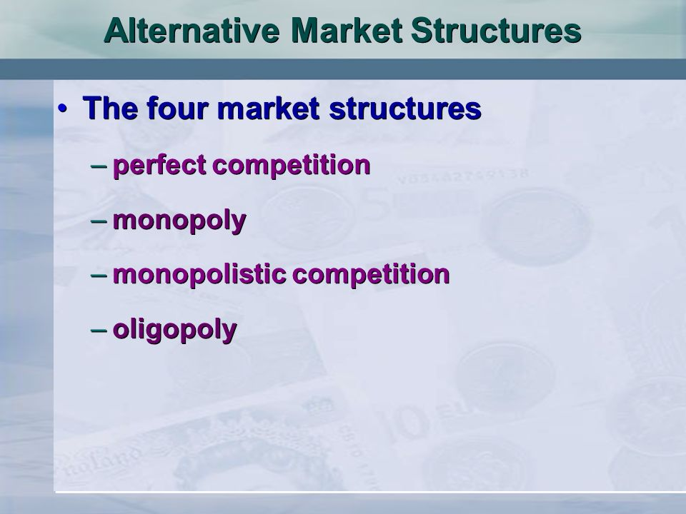 Oligopoly Collusive oligopoly (cont.) –tacit collusion price leadership rules of thumb –factors favouring collusion few firms which are open with each other similar cost structures similar products there is a dominant firm significant barriers to entry stable market conditions no government measures to curb collusion Collusive oligopoly (cont.) –tacit collusion price leadership rules of thumb –factors favouring collusion few firms which are open with each other similar cost structures similar products there is a dominant firm significant barriers to entry stable market conditions no government measures to curb collusion