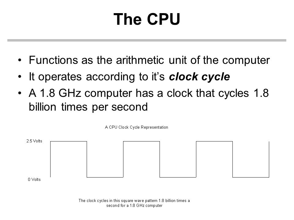 The CPU Functions as the arithmetic unit of the computer It operates according to its clock cycle A 1.8 GHz computer has a clock that cycles 1.8 billion times per second