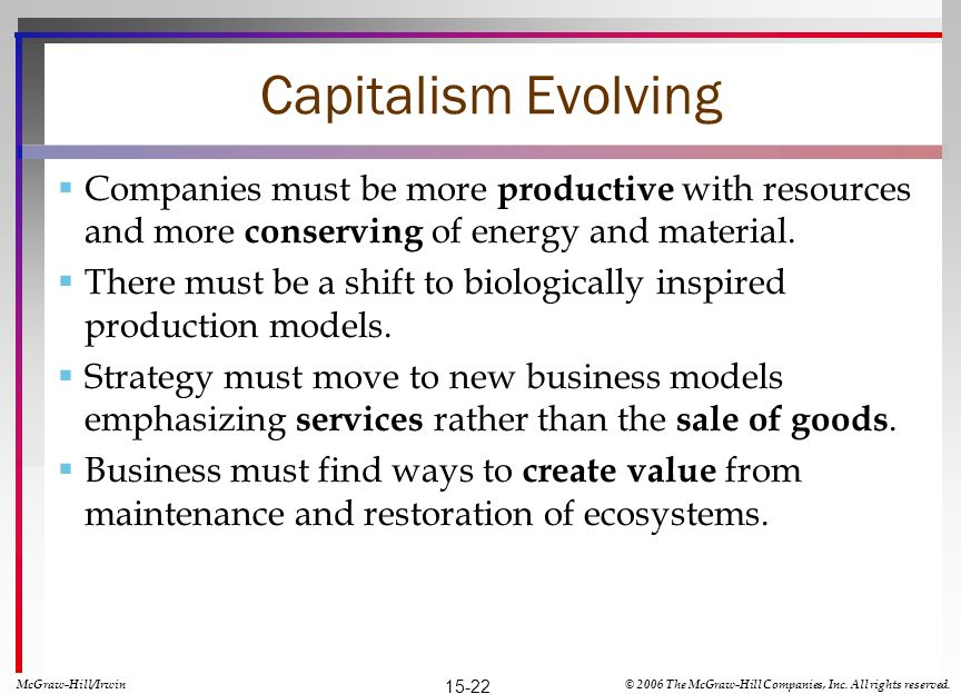 Capitalism Evolving Companies must be more productive with resources and more conserving of energy and material.