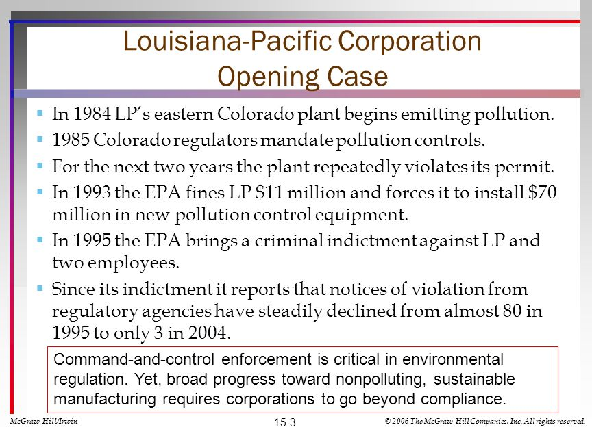 Louisiana-Pacific Corporation Opening Case In 1984 LPs eastern Colorado plant begins emitting pollution.