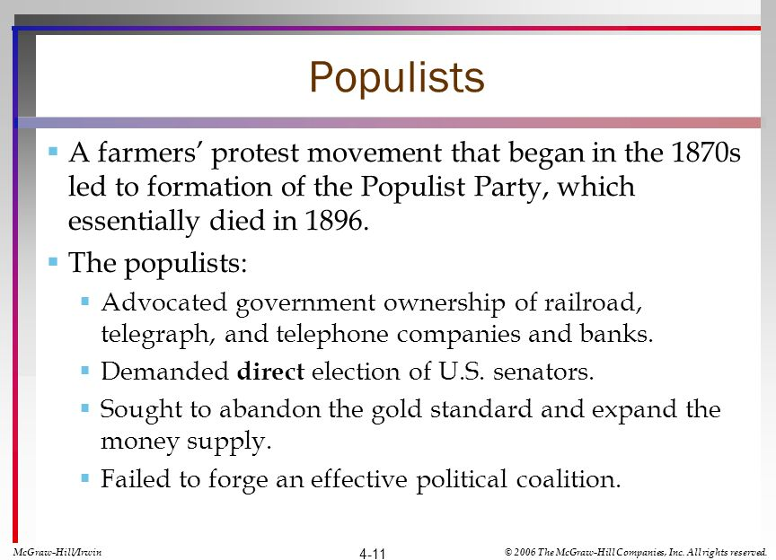 Populists A farmers protest movement that began in the 1870s led to formation of the Populist Party, which essentially died in 1896. The populists: Ad