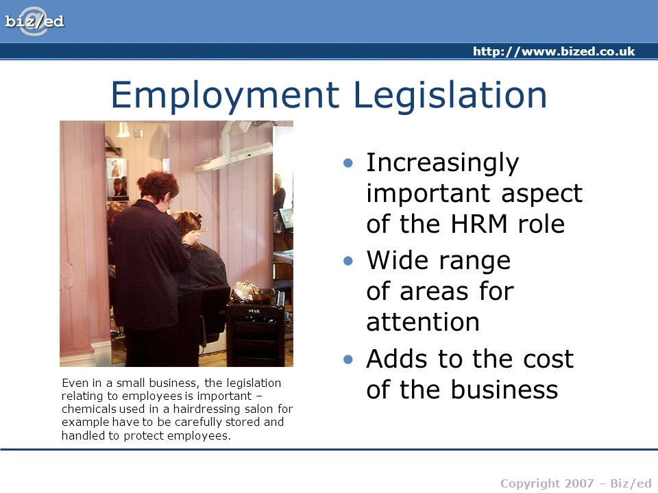 http://www.bized.co.uk Copyright 2007 – Biz/ed Employment Legislation Increasingly important aspect of the HRM role Wide range of areas for attention