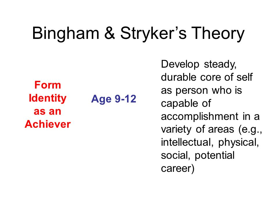 Form Identity as an Achiever Age 9-12 Develop steady, durable core of self as person who is capable of accomplishment in a variety of areas (e.g., int