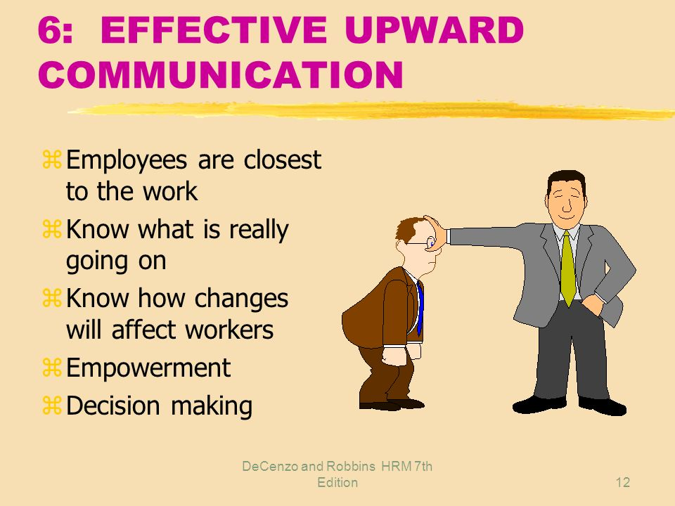 DeCenzo and Robbins HRM 7th Edition11 6: EFFECTIVE COMMUNICATIONS z Top management commitment z Effective upward communication z Determining what to c