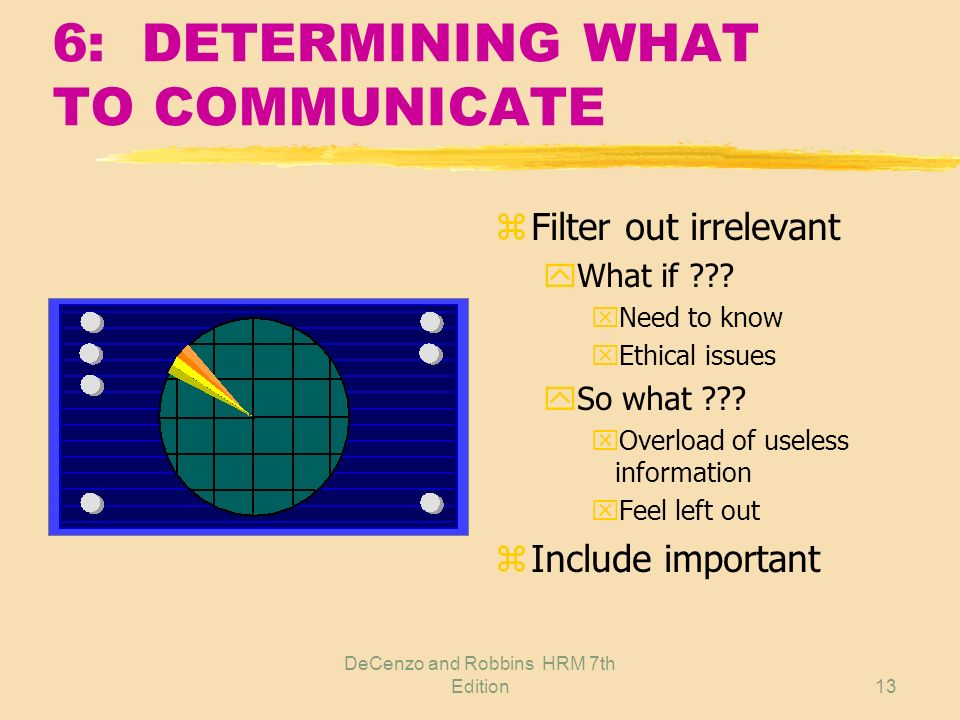 DeCenzo and Robbins HRM 7th Edition12 6: EFFECTIVE UPWARD COMMUNICATION zEmployees are closest to the work zKnow what is really going on zKnow how cha