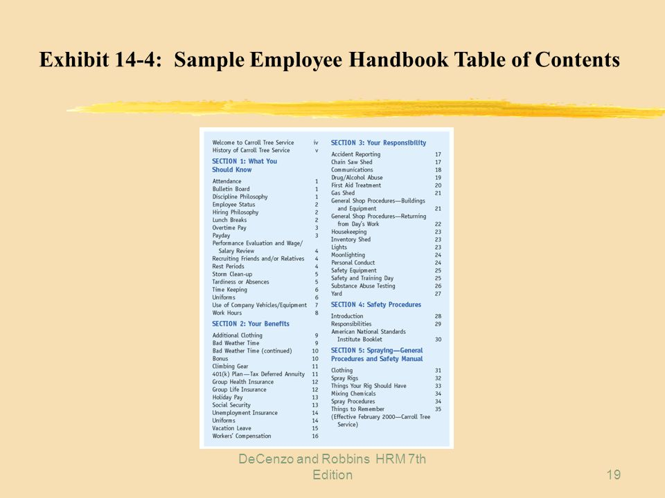 DeCenzo and Robbins HRM 7th Edition18 8: EMPLOYEE HANDBOOK CONTENTS z Introductory comments z What you should know z Your benefits z Your responsibili