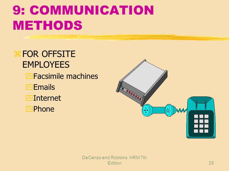 DeCenzo and Robbins HRM 7th Edition24 9: COMMUNICATION METHODS z Employee handbook z Bulletin board z Company newsletter z Company-wide meetings z Dig