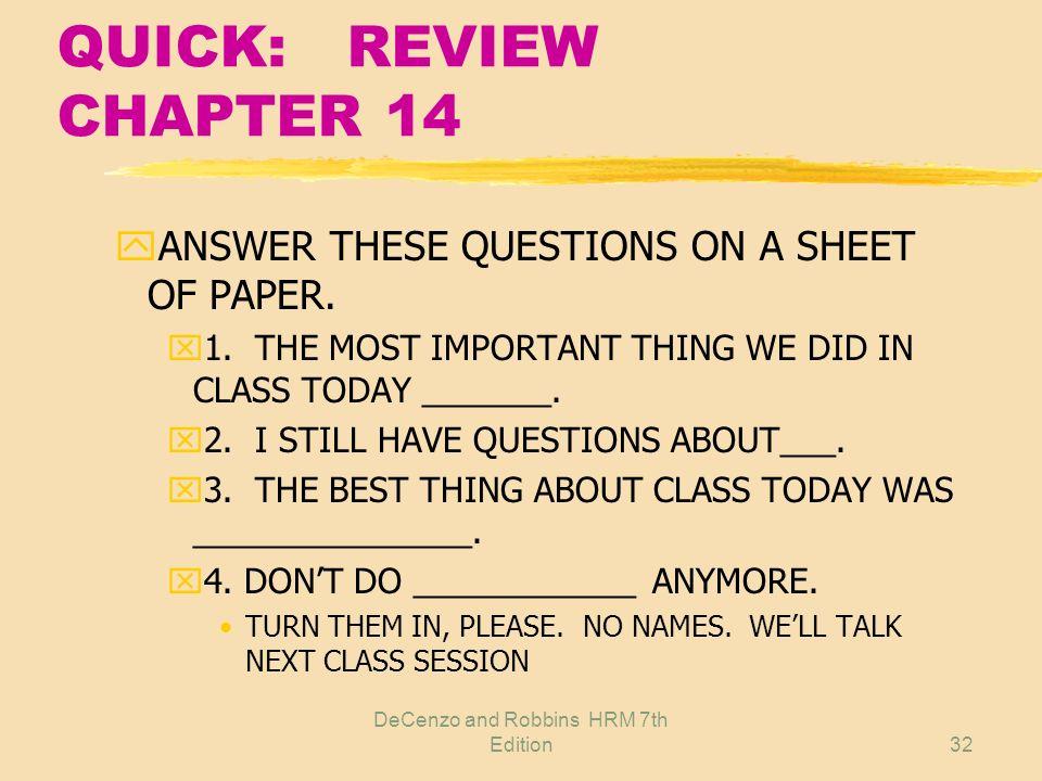 DeCenzo and Robbins HRM 7th Edition31 REVIEW CHAPTER 14 zRemember these terms? yEmployee handbook ySummary Plan Description yBulletin board yFeedback