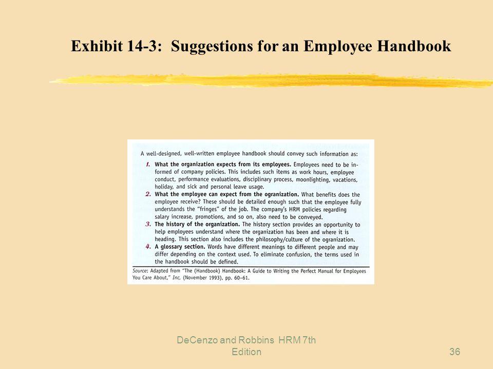 DeCenzo and Robbins HRM 7th Edition35 Exhibit 14-2: A Sample Employee Handbook Disclaimer