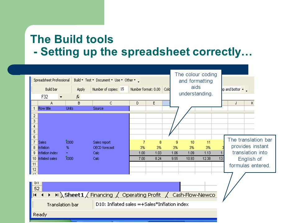The Build tools - Setting up the spreadsheet correctly… The colour coding and formatting aids understanding. The translation bar provides instant tran