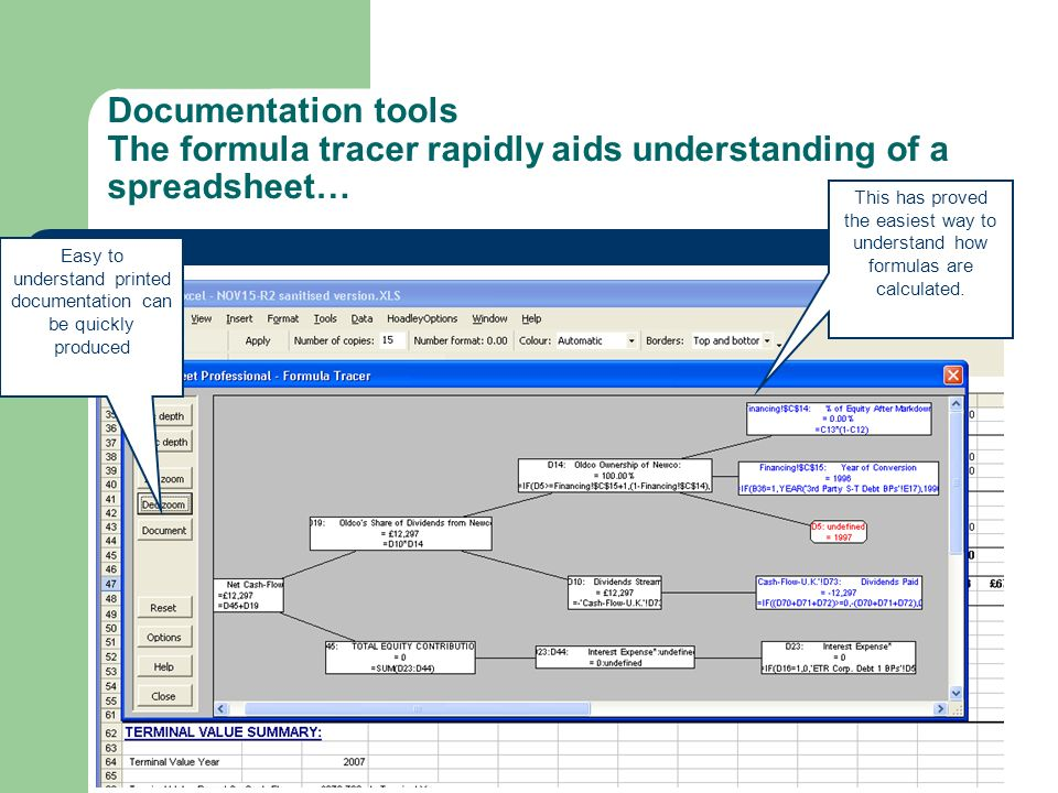 Documentation tools The formula tracer rapidly aids understanding of a spreadsheet… Easy to understand printed documentation can be quickly produced T