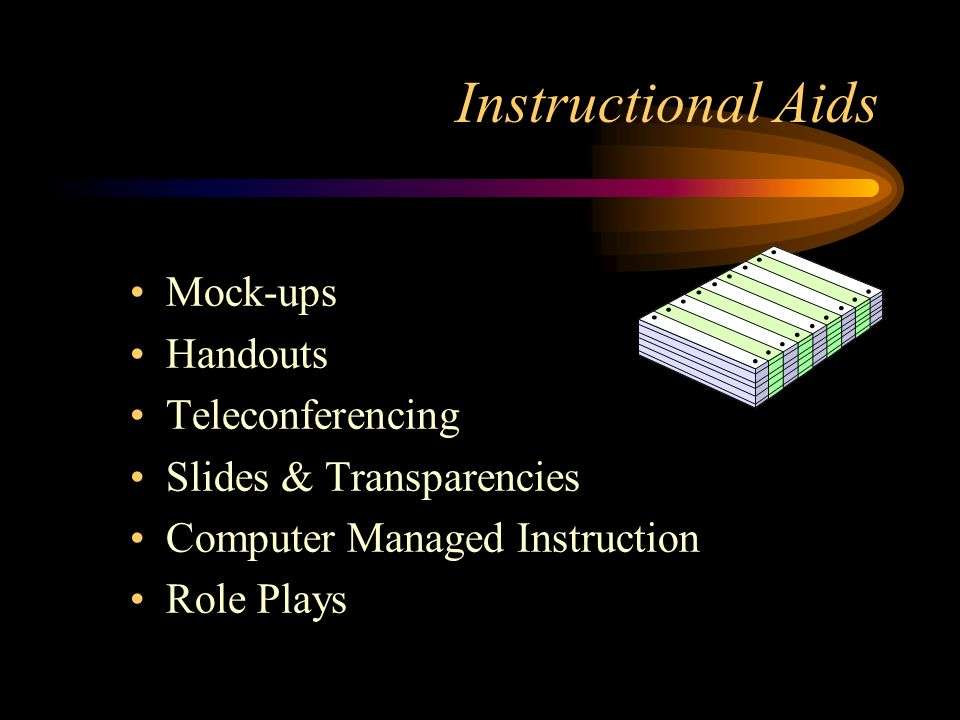 Instructional Aids Mock-ups Handouts Teleconferencing Slides & Transparencies Computer Managed Instruction Role Plays
