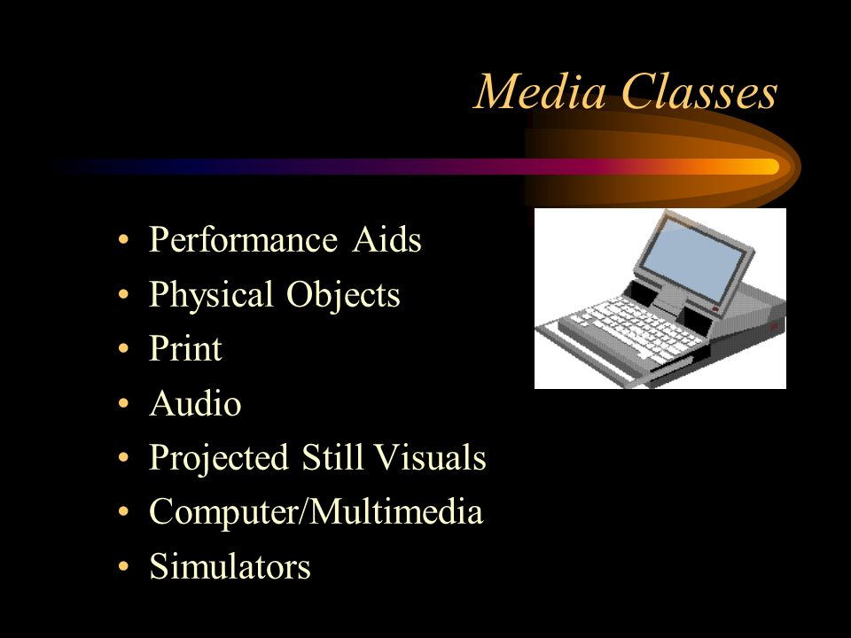 Media Classes Performance Aids Physical Objects Print Audio Projected Still Visuals Computer/Multimedia Simulators