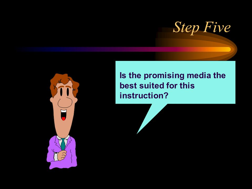 Step Five Is the promising media the best suited for this instruction