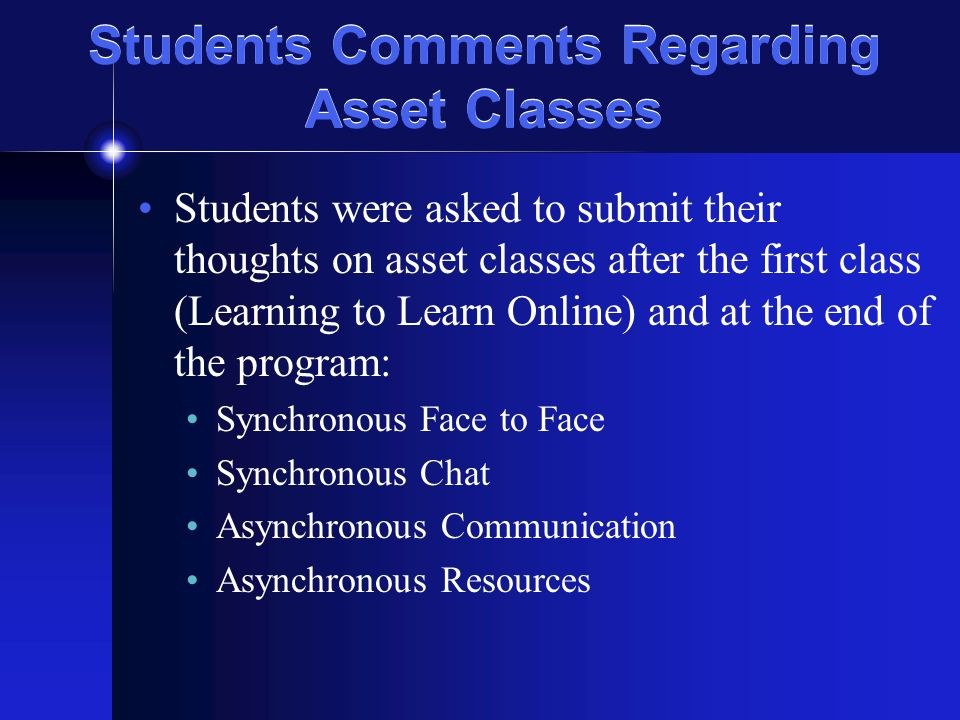 Students Comments Regarding Asset Classes Students were asked to submit their thoughts on asset classes after the first class (Learning to Learn Online) and at the end of the program: Synchronous Face to Face Synchronous Chat Asynchronous Communication Asynchronous Resources
