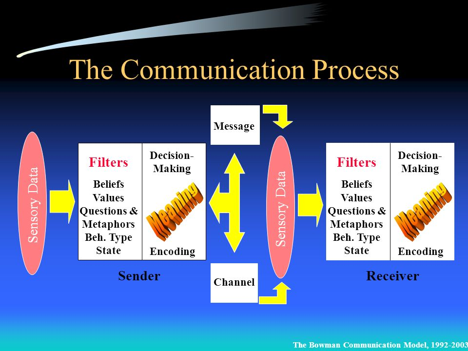 The Communication Process Sensory Data SenderReceiver Filters Beliefs Values Questions & Metaphors Beh. Type State Filters Beliefs Values Questions &