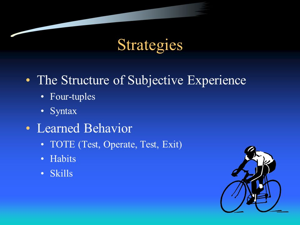 Strategies The Structure of Subjective Experience Four-tuples Syntax Learned Behavior TOTE (Test, Operate, Test, Exit) Habits Skills