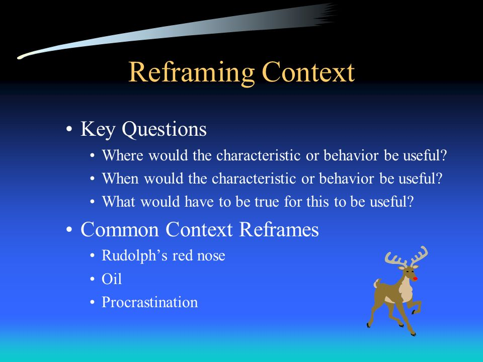 Reframing Context Key Questions Where would the characteristic or behavior be useful? When would the characteristic or behavior be useful? What would