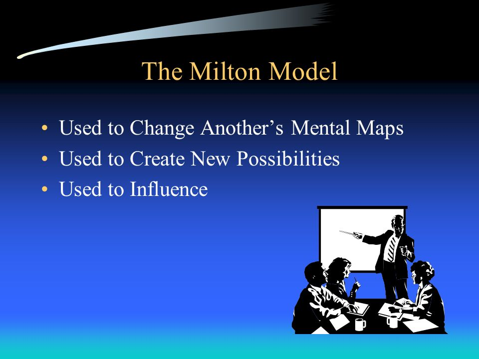 The Milton Model Used to Change Anothers Mental Maps Used to Create New Possibilities Used to Influence