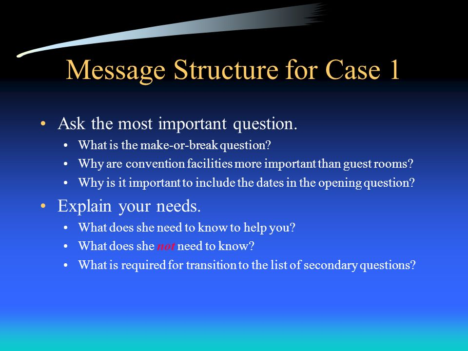 Message Structure for Case 1 Ask the most important question. What is the make-or-break question? Why are convention facilities more important than gu