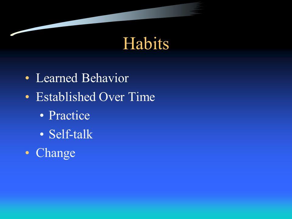Habits Learned Behavior Established Over Time Practice Self-talk Change