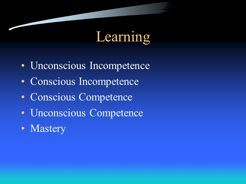 Learning Unconscious Incompetence Conscious Incompetence Conscious Competence Unconscious Competence Mastery