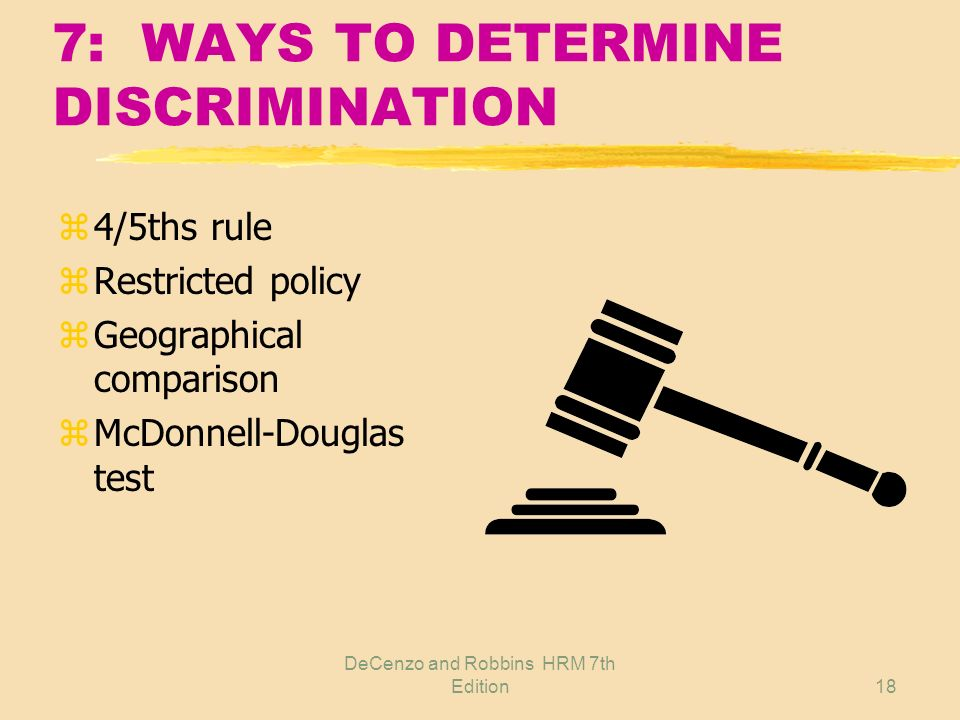 DeCenzo and Robbins HRM 7th Edition17 7: DETERMINING DISCRIMINATION zAdverse impact on more than one individual zTests indicate risky/questionable pra