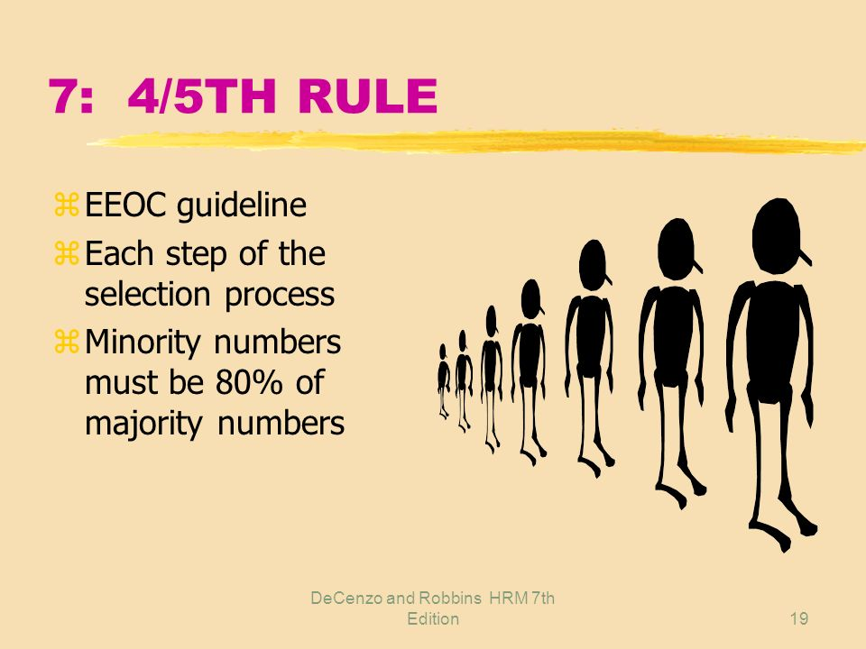 DeCenzo and Robbins HRM 7th Edition18 7: WAYS TO DETERMINE DISCRIMINATION z4/5ths rule zRestricted policy zGeographical comparison zMcDonnell-Douglas
