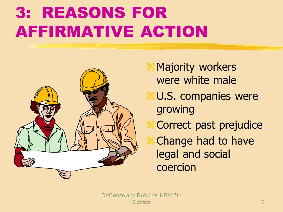 DeCenzo and Robbins HRM 7th Edition7 3: REASONS FOR AFFIRMATIVE ACTION z Majority workers were white male z U.S.
