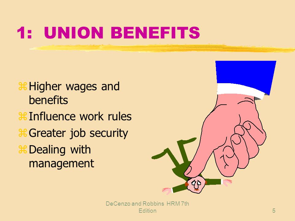 DeCenzo and Robbins HRM 7th Edition4 1: UNIONS DEFINED z Organization of workers z Acting collectively z Seeking mutual interest yProtection yPromotion z Through collective bargaining