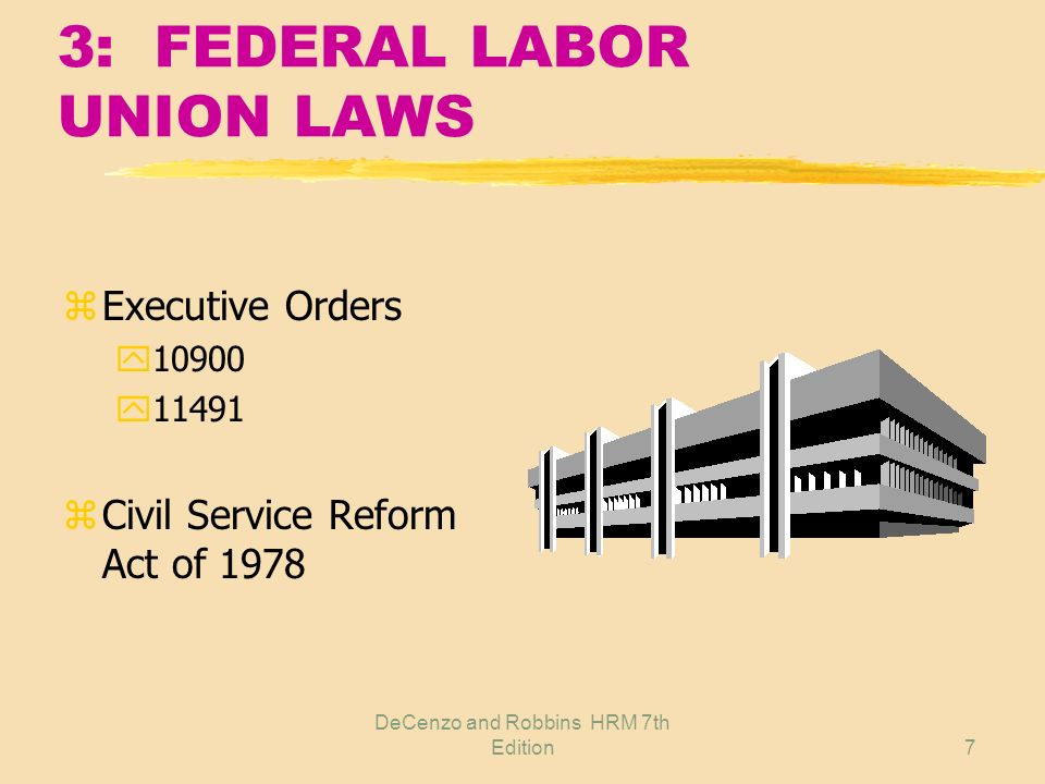 DeCenzo and Robbins HRM 7th Edition6 2: LABOR UNION LAWS z Wagner Act z Taft-Hartley Act z Railway Labor Act z Landrum-Griffin Act z Racketeering Influenced and Corrupt Organizations Act