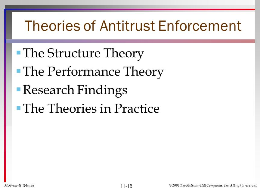 Theories of Antitrust Enforcement The Structure Theory The Performance Theory Research Findings The Theories in Practice McGraw-Hill/Irwin© 2006 The McGraw-Hill Companies, Inc.