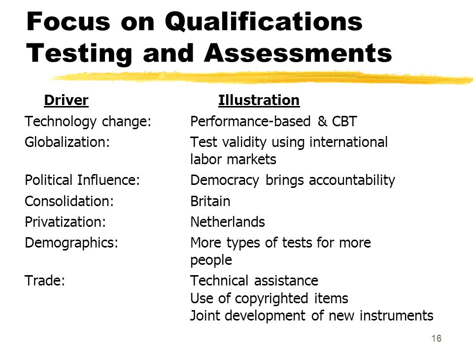16 Focus on Qualifications Testing and Assessments Driver Illustration Technology change:Performance-based & CBT Globalization:Test validity using int
