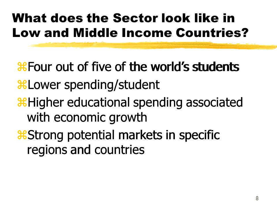 8 What does the Sector look like in Low and Middle Income Countries.