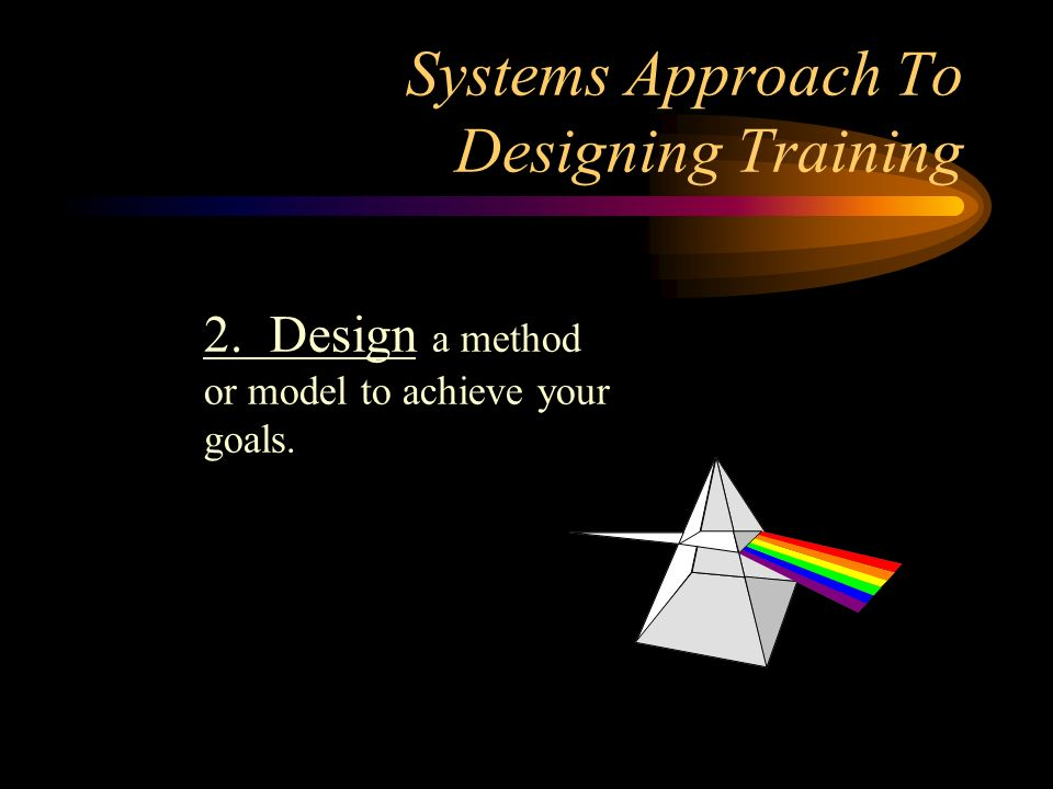 Systems Approach To Designing Training 2. Design a method or model to achieve your goals.